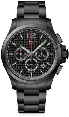 Longines Conquest 44MM Stainless Steel Black PVD Chronograph Watch