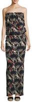 Zero Maria Cornejo Strapless Flora-Print Maxi Dress, Black Pattern