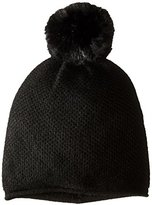 Sofia Cashmere Women's Honeycomb-Textured Hat with Faux-Fur Pom