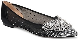 Badgley Mischka Women's Quinn Crystal Embellished Pointed Toe Flats