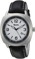 Roots Men's 'Core' Quartz Stainless Steel and Leather Casual Watch, Color:Black (Model: 1R-PR100WH3B)