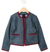 Oscar de la Renta Girls' Chevron Wool Jacket
