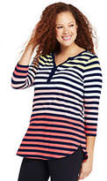 Lands' End Women's Plus Size 3/4 Sleeve Split Neck Tunic Top-White Canvas Heather