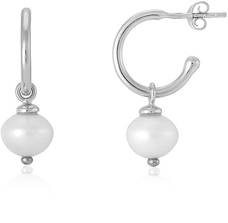 Auree Jewellery Manhattan Silver & Freshwater Pearl Interchangeable Hoops Earrings