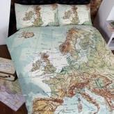 Ciel Globe Map Vintage Double Duvet Set