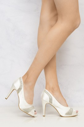 Miss Diva Solange Diamante Peep Toe Shoes in Ivory
