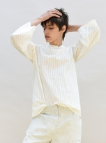 Charlie May Asymmetric Neck Cream Striped Shirt