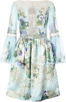 Marchesa embroidered flowers gathered dress