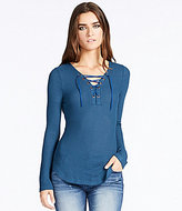 William Rast Lace-Up Solid Long-Sleeve Waffle-Knit Tee