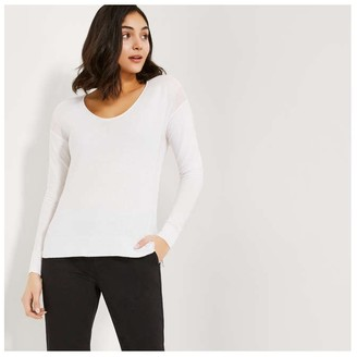 Joe Fresh Women's Drop Shoulder Sweater, White (Size S)