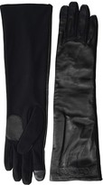 Calvin Klein Long Leather Touch Gloves (Black) Over-Mits Gloves