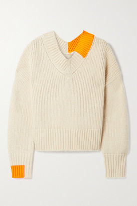 Helmut Lang Two-tone Knitted Sweater - Beige