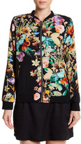 Spense Classic Floral Print Bomber Jacket