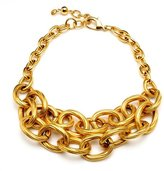 Ben-Amun Textured Gold Chain Link Double Row Necklace