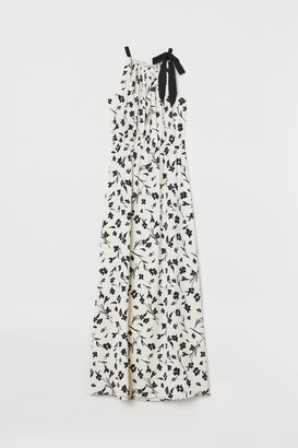 H&M Long Dress with Bow - White