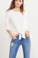 Dynamite Tie Front Blouse with Bell Sleeves