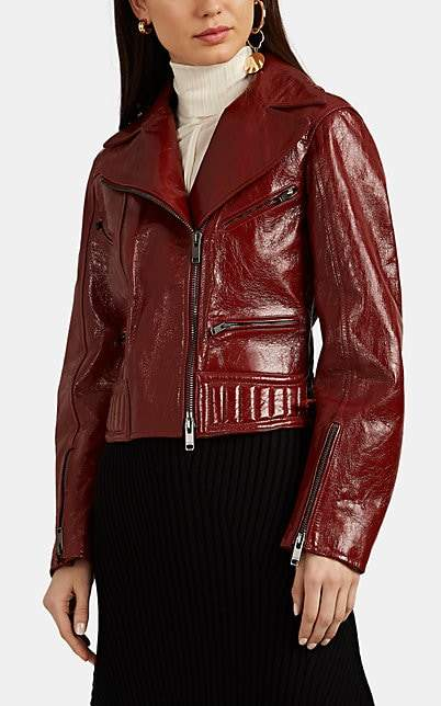 Givenchy Women's Crackled Leather Moto Jacket - Red
