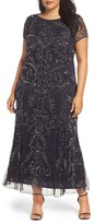 Pisarro Nights Plus Size Women's Beaded Short Sleeve Column Gown