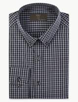 M&S CollectionMarks and Spencer Cotton Blend Easy to Iron Slim Fit Shirt