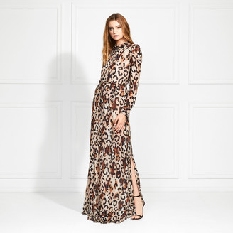 Rachel Zoe Elara Leopard Print Button Down Maxi Dress