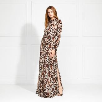Rachel Zoe Elara Leopard Print Button Down Maxi Dress