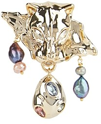 Alexis Bittar Cultured Freshwater Pearl, Stone Studded Panther Head Pin