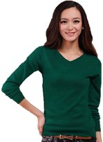 Qiuse Women's Solid V-Neck Pullover Tops Sweaters Assorted Colors
