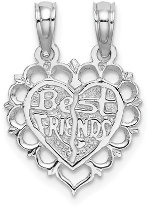 14K White Gold Best Friend Two Piece Break-Apart Heart Charm with 18-inch Cable Rope Chain by Versil