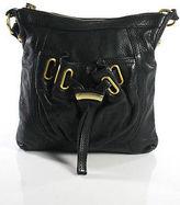 B. Makowsky Black Leather Small Square Gold Tone Adjustable Shoulder Handbag