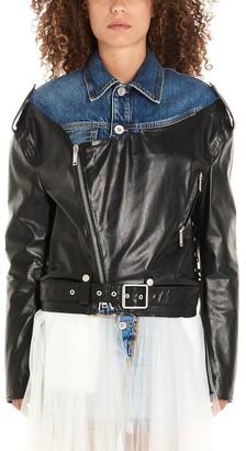 Unravel Project Contrasting Panelled Biker Jacket