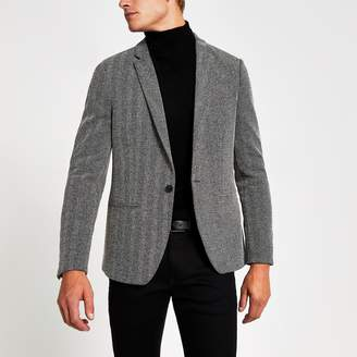 River Island Mens Grey textured skinny fit blazer