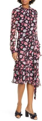 Jason Wu Floral Print Asymmetrical Long Sleeve Silk Dress