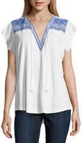 Liz Claiborne Short Sleeve Split Crew Neck T-Shirt-Womens