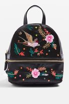 Satin bird embroidered backpack