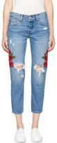 Levi's Levis Blue Embroidered 501 Taper Jeans