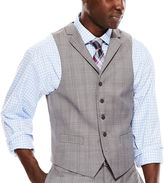COLLECTION Collection by Michael Strahan Light-Gray Plaid Suit Vest - Classic Fit