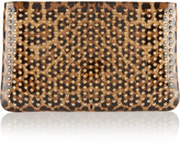 Christian Louboutin Loubiposh Spiked Leopard-print Patent-leather Clutch - Leopard print