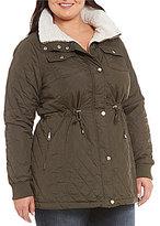 Steve Madden Plus Glacier Shield Mini Quilt Anorak With Faux Fur Collar