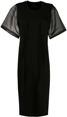 Diesel Black Gold Organza Sleeves Midi Dress