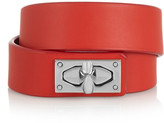 Givenchy Shark Lock Bracelet In Leather And Palladium-tone Brass - Red