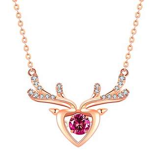 ATMOKO Necklace, Red Christmas Elf Pendant with Dancing Ruby, Deer Antlers Heart-Shaped Necklace, 925 sterling silver Jewellery with Rose Gold, with Elaborate Gift Box for Women, Wife, Mom