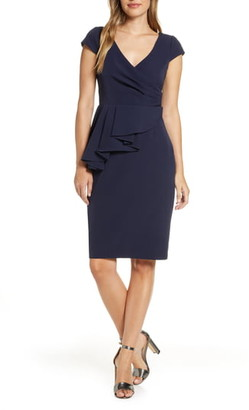 Eliza J Draped Panel Short Sleeve Dress