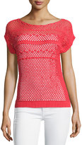Lafayette 148 New York Short-Sleeve Crochet Sweater, Tango Red