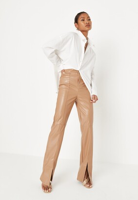 Missguided Mocha Faux Leather Split Front Trousers