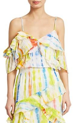 Tanya Taylor Tavia Cold Shoulder Tie-Dye Top