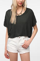 Sparkle & Fade Solid Twist Neck Cropped Tee