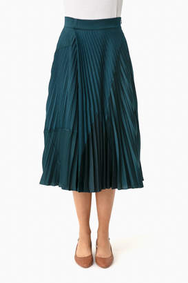 Vince Carpinteria Mixed Media Pleated Skirt