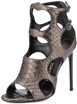 Tom Ford Cutout Python and Leather 105mm Sandal, Antique Gunmetal