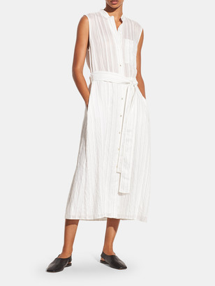 Vince Drapey Stripe Shirt Sleeveless Midi Dress