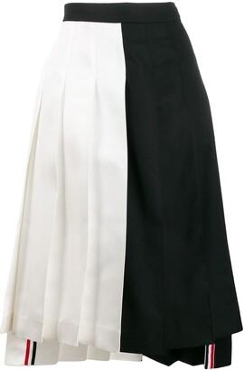 Thom Browne Two-Tone Pleated Mini Skirt
